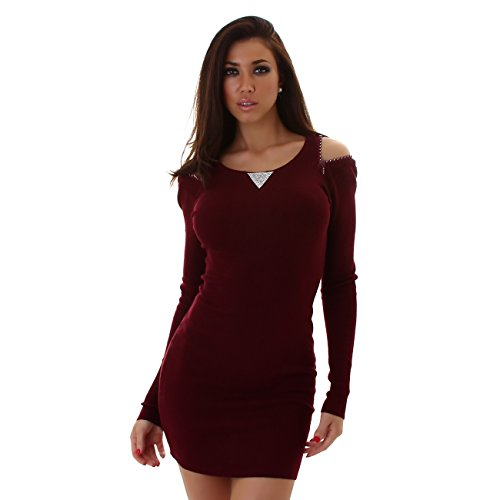 ENZORIA Damen Strickkleid, ein kurzes Kleid mit langen Ärmeln, Rundhalsausschnitt 34-38 Weinrot