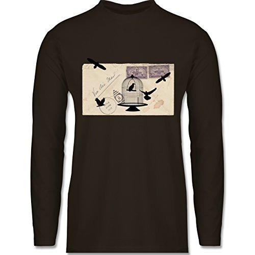 Eulen, Füchse & Co. - Alter Brief Vogelkäfig - Longsleeve / langärmeliges T-Shirt für Herren Braun