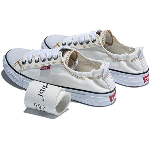 SHFANG Dame Shoes Flat Bottom Canvas Schuhe Freizeit Bequeme Bewegung Students Ferse Enge Vier Farben White