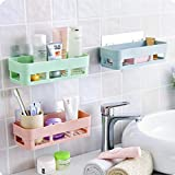 2Q2Q Multipurpose Kitchen Bathroom Shelf Wall Holder Storage Rack Bathroom Rack Storage Box Strong Magic Sticker Shower…