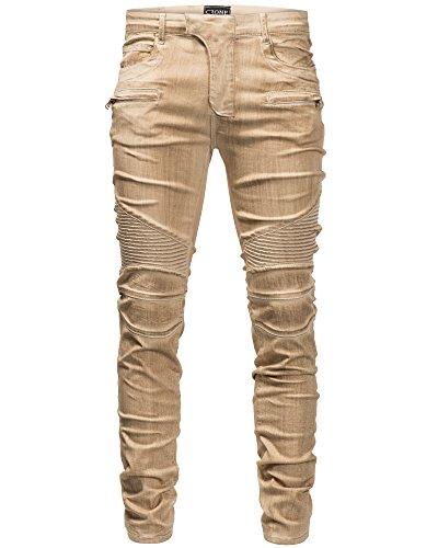 Crone Herren Biker Jeans Hose Slim Fit Limited Edition Vintage Used Look (33, Sand Washed) (Knie Naht Hose Jeans)