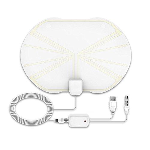 TV Antenne, 50 Miles 1080P transparent Digital-TV Antenne, HDTV Antenne Innen mit abnehmbarer Verstärker Blinker Booster … (Kristall weiß - Apfel)