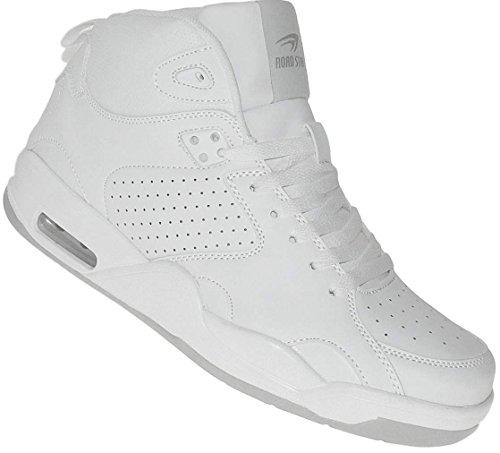 Bootsland High Top Basketballschuhe Skaterschuhe Damen Herren 006, Schuhgröße:38, Farbe:Weiß