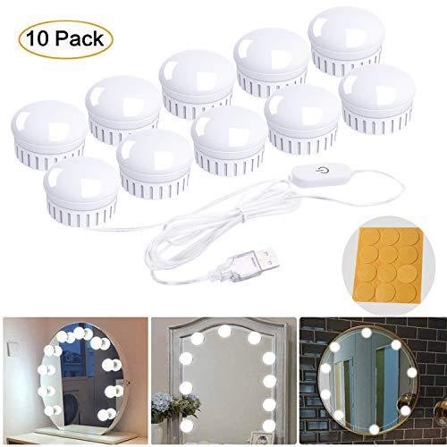 Luces de Espejo de Tocador, Fenvella Lámparas para el espejo con 10 Bombillas Regulables para Mesa de Maquillaje,Baño,Espejo,Armario,Tocador.