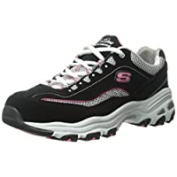 Skechers Sport Women's D'Lites Memory Foam Lace-up Sneaker,Black/Pink,10 M US