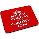 Keep Calm 10016, Keep Calm And Carry On, Designer Mousepad Unterlage Mauspad Maus-Pad Stark Anti Rutsch Unterseite für Optimalen Halt mit Lebhaftes Motiv Kompatibel mit Apple Magic Maus. Ideal für Gamer und für Grafikdesigner