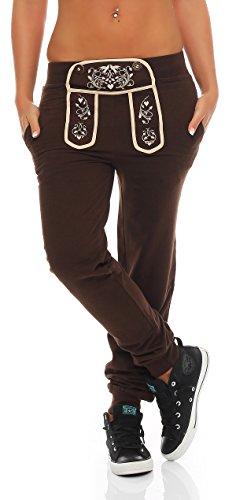 Gennadi Hoppe Damen Sporthose Pant im Trachtenlook Braun