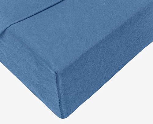 Double Jersey - Spannbettlaken 100% Baumwolle Jersey-Stretch bettlaken, Ultra Weich und Bügelfrei mit bis zu 30cm Stehghöhe, 160x200x30 Jeans Blau - 4