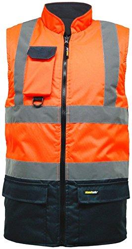 Herren-Sicherheitsweste mit hoher Sichtbarkeit, 2-farbig, wendbar, Fleece-gefüttert Mehrfarbig - Orange/Navy