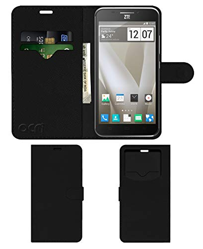 Acm Leather Window Flip Wallet Front & Back Case for Zte Grand S2 Mobile Cover Black