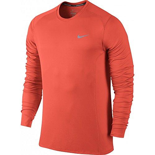 Nike Herren Dri-Fit Miler Langarm Shirt, Mehrfarbig naranja (turf orange)