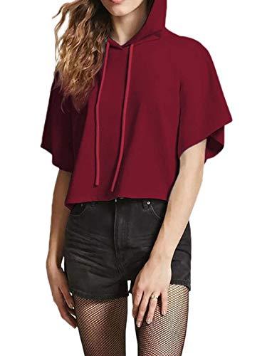 Crimson Pullover Hoody (Screenes Herbst Kapuzenshirt Damen Elegante Kurzarm Sport Shirt Unifarben Mit Tunnelzug Casual Locker Bequeme Pullover Kapuzenpullover Kurz Young Fashion (Color : Crimson, Size : M))