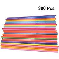 TOYANDONA 300 Piezas Pajitas de Plástico de Neón, Pajitas de Beber Flexibles Y Desechables de 13 Pulgadas para Suministros de Cumpleaños O Fiestas