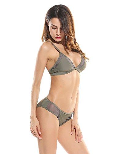 Ekouaer Damen Sexy Push-up Bikini Set Swimsuits mit Verstellbare Neckholder Tankini mit Soft Cups Bademode Armeegrün
