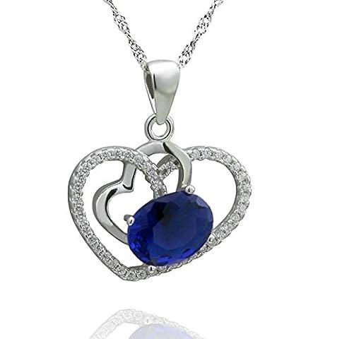 AMDXD Bijoux Argent Sterling Pendentif Colliers pour Femme Bleu Double