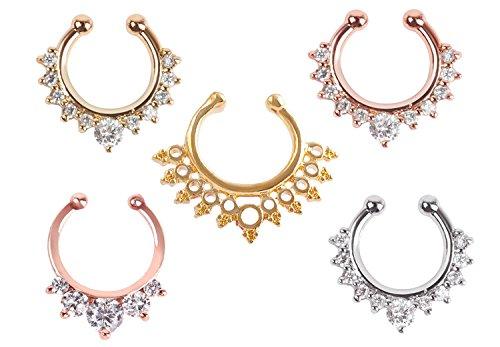 GOOTUUG 5 Stück Fake Nase Ring Septum Piercing Schmuck für Frauen Nicht Piercing Clip auf Körper Piercing Schmuck (5 × Nasenringe)