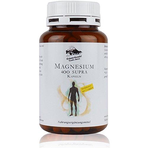 Preisvergleich Produktbild Magnesium 400 Supra • 120 Kapseln (4 Monatsvorrat) • 400 mg reines Magnesium pro Kapsel • aus Prinzip KEIN Magnesiumstearat • Made in Germany • Kräuterhandel Sankt Anton