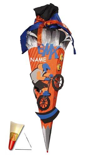 Unbekannt fertig gebastelte Schultüte - Fahrrad BMX 85 cm - incl. Namen - mit Holzspitze - Zuckertüte Roth - ALLE Größen - 6 eckig für Jungen Biker Cross Bike (Bmx Bikes Games)