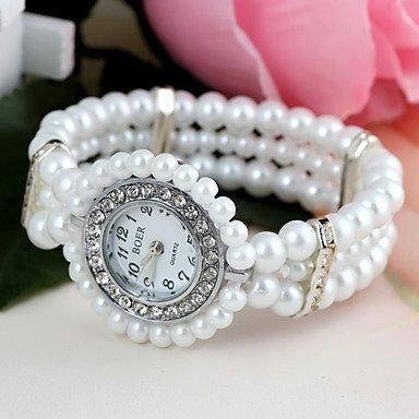 28mm Perle (Fenkoo Frauen runden Set Diamant Perlenarmband Uhr (1pc))