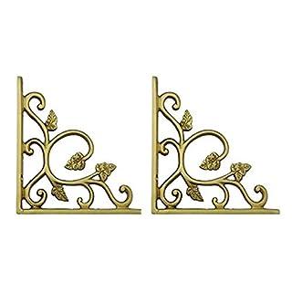 Adonai Hardware Meshezaheel Decorative Brass Shelf Bracket - Satin Brass (Supplied as 2 Pieces per Pack)