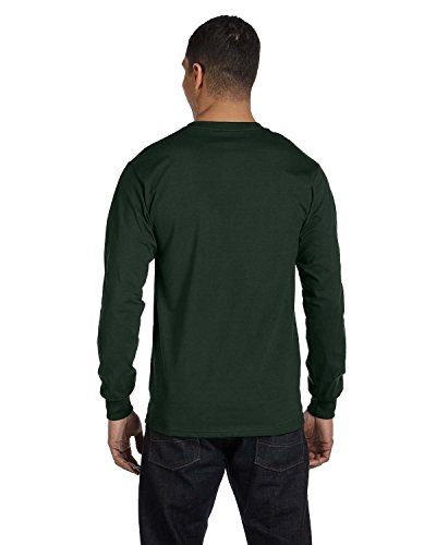 Hanes Mens Beefy-T 100% Cotton Long Sleeve T-Shirt Deep Forest