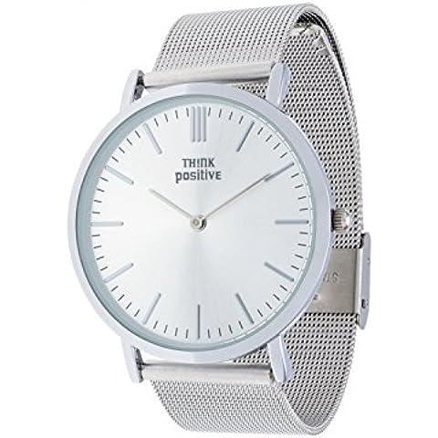Señoras THINK POSITIVE® Modelo SE W94 reloj grande y plana total correa de acero inoxidable
