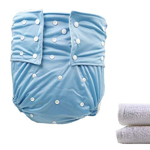 LukLoy Herren Damen Erwachsene Stoffwindeln mit 2 Einlagen für Inkontinenz Pflege Schutzunterwäsche waschbar verstellbar Wiederverwendbar auslauffrei für Taille Größe L 65 cm ~ 135 cm
