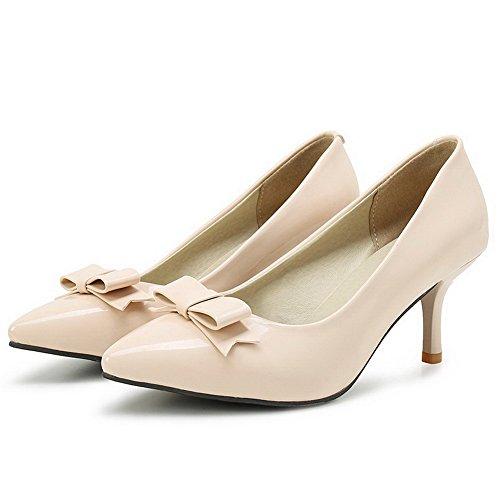 AgooLar Femme Pointu à Talon Correct Verni Couleur Unie Tire Chaussures Légeres Beige