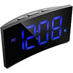 """PICTEK Digitaler Wecker, Digitaluhr, Reisewecker,5"""" LED-Display, Randlos Kurve, Dimmer, Snooze, 12/24 Stundenanzeige, 3 Alarmtöne, Naturgeräusche, USB-Stromanschluss -Blau (ohne Adapter)"""