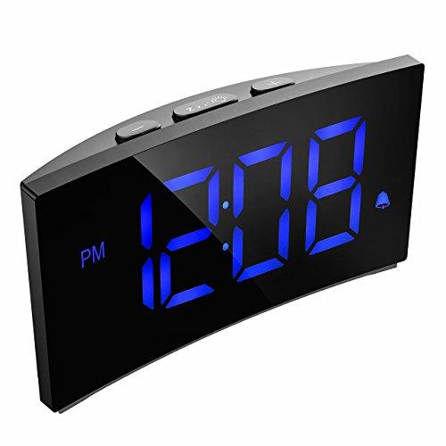 """Digitaler Wecker, PICTEK Digitaluhr, Reise Wecker, 5""""LED-Display, Randlos Kurve, Dimmer, Snooze, 12/24 Stundenanzeige, 3 Alarmtöne mit 2 einstellbare Lautstärke, Naturgeräusche, USB-Stromanschluss(ohne Adapter) -Blau"""