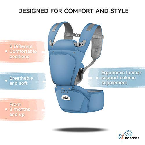 """Baby Carrier Ergonomic with Hip Seat Best Safe Backpack Carriers with Free """"My First Baby"""" E-Book 
