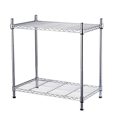 Seelux Standregal Küchenregal Metallregal aus Verchromten Metall mit Regalböden (2 Regalböden (60...