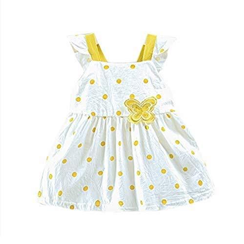 kind Kind Baby Mädchen ärmellose Sling Dot gedruckt Schmetterling Bogen Party Prinzessin Kleid Kleidung bequem lässig ()