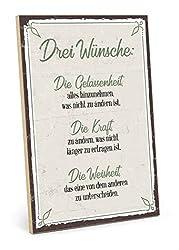 TypeStoff Holzschild mit Spruch - DREI WÜNSCHE - im Vintage-Look mit Zitat als Geschenk und Dekoration zum Thema Gelassenheit, Kraft und Weisheit (19,5 x 28,2 cm)