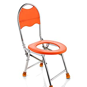 CPDZ Klappbarer Toilettenhocker Sitz mit Kommode Älterer Toilettenstuhl Tragbarer Closesool Nachttisch Kommode für Senioren Behinderter Toilettenstuhl Medizinischer Toilettenstuhl orange
