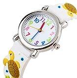 Kinderuhr Vinmori,Kinder Armbanduhr für jungen Mädchen, 3D Zeit Lehrer Kleinkind Cartoon Armbanduhr, Cartoon Schildkröte Muster Silikon Band wasserdicht Quarzuhr, das beste Geschenk für Kinder (weiß)