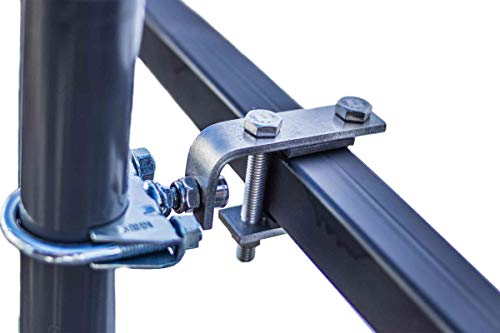 STORM-PROOF - Schirmhalter eckige Geländer, Schirmstock 32mm bis 38mm, stabile 2-Punkt-Befestigung aus Edelstahl und verz. Stahl, für Schirme bis 3,5m Durchmesser und Ampelschirme bis 3m Durchmesser