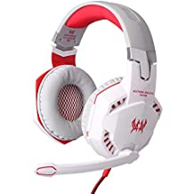 KOTION EACH G2000 Over-ear Gaming Headphone Headset with Mic Stereo Bass LED Light for PC Game Blue White Red