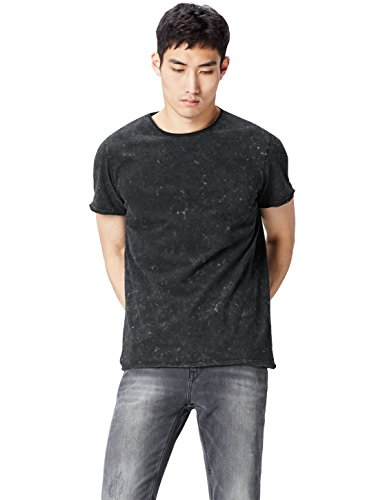 FIND T-Shirt Herren Rundhals und Acid-Wash-Optik, Schwarz (Black), Medium (T-shirt Schwarzes Wash)