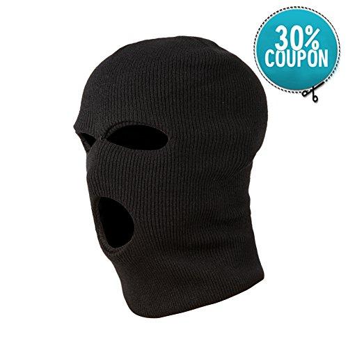 GLOUE Balaclava Sturmhaube Kopfhaube Skimaske 3 Loch Maske winddicht Outdoor weich Schwarz , Blau, Braun (Schwarze asche) (Balaclava Haube)
