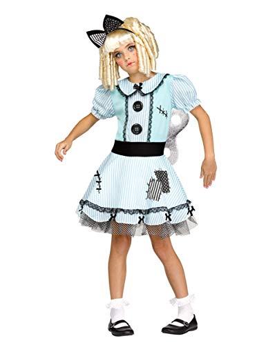 Horror-Shop Living Doll Aufziehpuppe Kostüm für Mädchen M (Broken Dolls Kostüm)