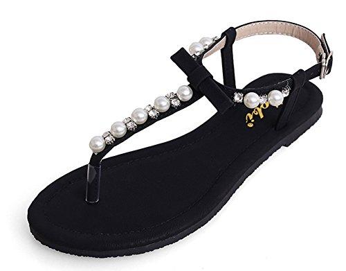 Aisun Damne Perlen KnöchelriemchenLässige Flache Schuhe Offene Sandalen Schwarz
