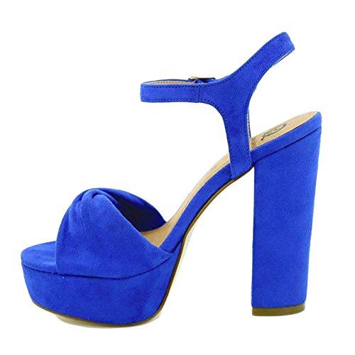 Toocool - Scarpe donna sandali camoscio sintetico tacchi alti Queen Helena nuove ZM25193 Blu