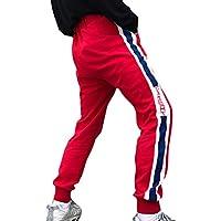 cheyuan Pareja Bolsillo Letras Pantalones,Unisex Impresión para Adultos Microelásticos Pantalones Caminatas Al Aire Libre Calle Poliéster Pantalones