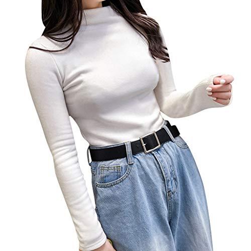 Deep lovly Damen top herbst winter frauen langarm solide pullover rollkragen samt grundlegende mädchen sexy casual simple slim fit rundhals langarm sweatshirt bluse jumper t-shirt -