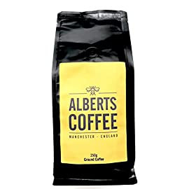 Alberts Arabica Ground Coffee, Medium Strength 4, Full Bodied Flavour, Roasted and Ground in Manchester 250g