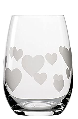 Stölzle Lausitz 335 ml Lead Free Crystal L´Amour Tumbler Satin Etched Hearts Glass