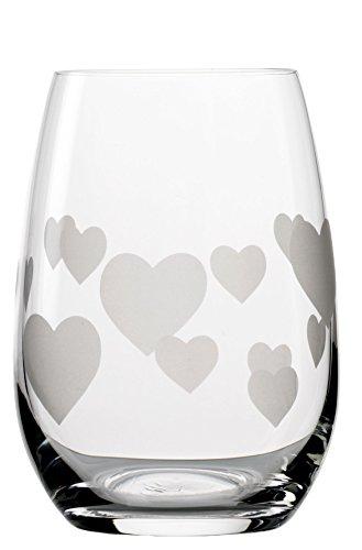 Stölzle_Lausitz 355 ml bleifreiem Kristallglas L'Amour Glas, geätztes Glas Herzmuster (Krug Mit Eis-container)