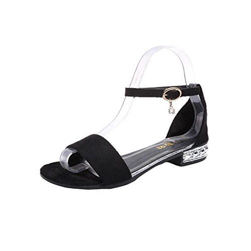 Liuchehd sandali bassi donna estivi sandali comodi donna sandalo donna fiore solido colore quadrato toe squadra tacco roma scarpe con tacco alto (nero, asia 38)