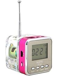 Mini Altavoz Tera mp3 cubo / Mini Altavoz / altavoz jack 3.5 FM Radio LCD Tarjeta TF ranura USB / Micro SD para portátil, tablet, coche, coche, MP3 MP4 iPod, iPhone, iPad, Samsung Galaxy, Sony, Nokia etcétera Rosa